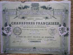 Action De 100 F  Chaussures Françaises   1927 - Shareholdings