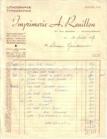 VIENNE - CHATELLERAULT - IMPRIMERIE - LITHOGRAPHIE - TYPOGRAPHIE - A. REUILLON - 1957 - Imprimerie & Papeterie