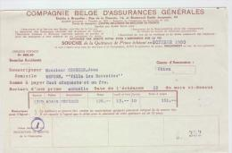 AG Souches Quittances Primes MM. Jean Crousse-Van Rintal Namur 1950-1952 - Banque & Assurance