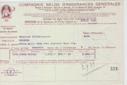 AG Souches Quittances Primes , Histas Lucien, Rhisnes 1950-1951 - Banque & Assurance