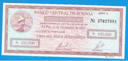 BOLIVIA - 100.000 Pesos Bolivianos 1984  SC  P-188 - Bolivia