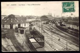 CPA ANCIENNE- FRANCE- DIJON (21)- LA GARE COTÉ INTERIEUR- NOMBREUX TRAINS GROS PLAN- AIGUILLAGES- - Dijon