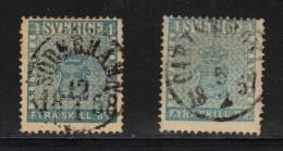 SUEDE N° 2 & 2 A Obl. (bleu & Bleu Gris) - Oblitérés
