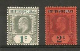 BRITISH HONDURAS 1904 - 1907 1c And 2c SG 84/85 MOUNTED MINT WMK MULT. CROWN CA Cat £22.50 - Honduras Britannique (...-1970)