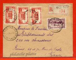 MARTINIQUE LETTRE RECOMMANDEE DE 1934 DE GROS MORNE POUR REIMS FRANCE - Martinique (1886-1947)