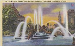 Pennsylvania Philadelphia Fountain On Parkway Showing Cathedral