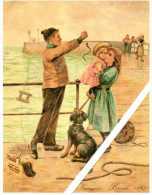 Petit Calendrier Chicorée Leroux 1983. Repro.imagerie Leroux 1887. Le Pêcheur Montre Sa Prise. Chien Assis Sur Le Quai - Petit Format : 1981-90