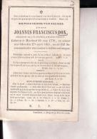 MEERHOUT TURNHOUT Joannes Franciscus DOX 1770-1851 Doodsprentje - Images Religieuses