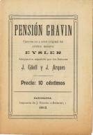 Programa Opereta PENSION GRAVIN De Eysler. Barcelona 1912 - Programmes