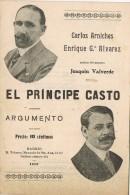 Programa Argumento EL PRINCIPE CASTO De Arniches. Madrid 1912 - Programas
