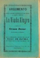 Programa Opereta LA VIUDA ALEGRE De Crauz Zecar, Barcelona 1912 - Programas