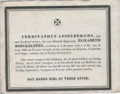 Boeckeleêrs Elizabeth Egtg. Van Asselberghs Ferdinandus, Berchem 14 Juny 1833 - Obituary Notices