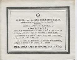 Bogaerts Joseph, Anvers 30 Octobre 1835 - Obituary Notices
