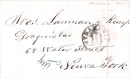 01825 Prefilatelia Habana A Nueva York Con Marca STEAM SHIP 10 Circulada 1868 - Cuba