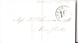 01826 Prefilatelia Matanzas A Nueva York Con Marca STEAM SHIP 10 Circulada 1856 - Cuba