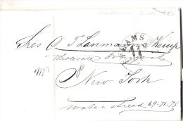 01827 Prefilatelia Matanzas A Nueva York Con Marca STEAM SHIP 10 Circulada 1860 - Cuba