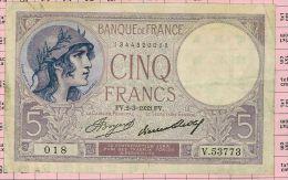 5 Francs Violet, Ref Fayette 3-17 SUP - 5 F 1917-1940 ''Violet''