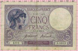 5 Francs Violet, Ref Fayette 3-2 TTB - 5 F 1917-1940 ''Violet''