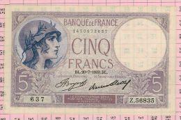 5 Francs Violet, Ref Fayette 3-17 SPL+ - 5 F 1917-1940 ''Violet''