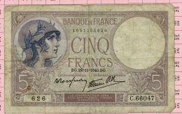 5 Francs Violet, Ref Fayette 4-15 TTB - 5 F 1917-1940 ''Violet''