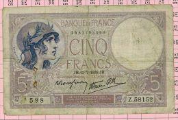 5 Francs Violet, Ref Fayette 4-1 TB+ - 5 F 1917-1940 ''Violet''
