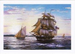 Marine Art Postcard Ship Margaret At Salem Harbour USA Sail Sea Roy Cross Harbor - Voiliers