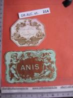 2 XIX Ième Etiques  - ANIS , 2 ANGES   - IMPRIMERIE  ROMAIN & PALYART -  EAU DE VIE DE DANZIG IMPR. NISSOU - Foglie
