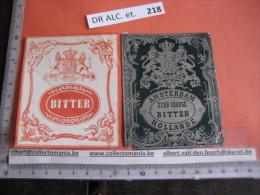 2 XIX Ième EtiquetteS LITHO PARAFINE  - AMSTERDAM BITTER   HOLLANDE  - IMPRIMEUR  G. NISSOU N°133 - Whisky