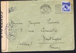 1941  Lettre De Suisse Pour Montluçon  Censure «Ouvert Par Les Autorités De Contrôle W. E.» - Francia