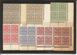RSDP003/ Zähldienst  1903 Mi.Nr. 1-8 (ex Nr. 6) Eckrand 4-er Blöcke Unten Rechts ** - Deutschland