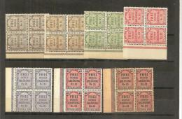 RSDP005/ Zähldienst  1903 Mi.Nr. 1-8 (ex Nr. 6) 4-er Blöcke, Linker Bogenrand ** - Deutschland
