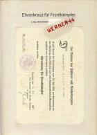 Parchim V. 1935  Ehrenkreuz Für Frontkämpfer  --  Siehe Foto !!   (092) - Historical Documents