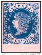 ES059-L2223TV.España, Spain,Espagne. ISABEL II.1852. (Ed 59*) EN NUEVO, GOMA ORIGINAL,CON CHARNELA, LUJO - Variedades & Curiosidades