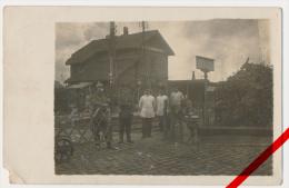 Original Foto - Montigny-en-Ostrevent - Bahnhof - Feldpost 1915 - Bahnpost- Und Briefstempel Landst.Inf.Batl.Dessau - Douai