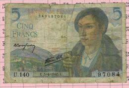 5 Francs Berger, Ref Fayette 5-6 état TB - 1871-1952 Antichi Franchi Circolanti Nel XX Secolo
