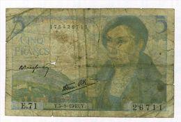 5 Francs Berger, Ref Fayette 5-3 état TB- - 1871-1952 Anciens Francs Circulés Au XXème