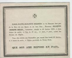 Delin Jacques, époux De Bressers Marie, Anvers 23-1-1835 - Obituary Notices