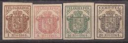 ESTGF1-L2152TESS.Espagne . Spain.ESCUDO DE ESPAÑA.TELEGRAFOS  DE ESPAÑA .1864 (Ed 1/4*)  MAGNIFICO. - Sellos