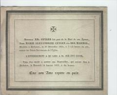Del Marmol Marie épouse De Cuylen Em., Eeckeren 30-12-1834 - Obituary Notices