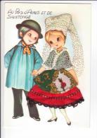 CP AU PAYS D'AUNIS ET SAINTONGE - COUPLES D'ENFANTS En COSTUME : Robe Et Coiffe Brodées De La Petite Fille - Costumes