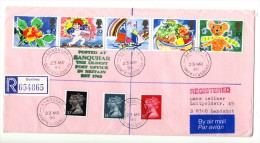 Great Britain 1989 - 1990, Registered Cover Posted At Sanquhar (Oldest Post Office) - Dumfries, Greetings Stamps - 1952-.... (Elizabeth II)