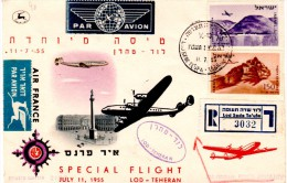 """Israel-Iran 1955 """"Air France"""" Registered Cacheted First Flight Cover  FFC - Storia Postale"""