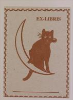 EX-LIBRIS CHAT SUR SON CROISSANT DE LUNE - Ex Libris