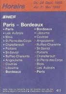 Horaire SNCF Päris-Bordeaux / Bordeaux-Paris : Du 39 Sept. 1985 Au 31 Mai 1986 - Europe