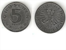Austria 5 Groschen 1972 Km 2875     Unc  !!! - Austria