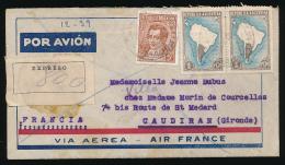 Enveloppe (1936) ARGENTINA - FRANCIA, Expreso, Via Aerea - Air France, Air Mail, Por Avion, Metan To Caudiran (Gironde) - Briefe U. Dokumente