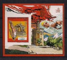REPUBLICA CENTROAFRICANA, HOJA BLOQUE EN NUEVO, PERFECTA, JUEGOS OLÍMPICOS, BARCELONA 92, TRAMPOLÍN - Ete 1992: Barcelone