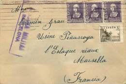 1939  Carta  Por La Francia    «Censura Militar - Barcelona» - 1931-50 Cartas