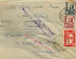 1937 Carta De Palma De Mallorca Por La Francia   Via Roma  «Censura Militar - Palma De Mallorca» Vignetta De - 1931-50 Covers
