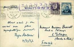 1937   Tarjeta Postal  Valencia Por La Francia  «Censura / Valencia» - 1931-50 Cartas